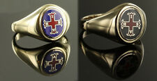 9ct Gold red Cross of Constantine Masonic ring (red and blue / Black, and red)
