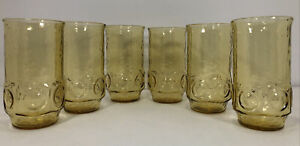 Vintage Anchor Hocking Amber Drinking Glasses 16oz SET OF 6