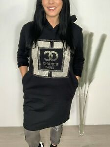 Black Sparkly Paris Sequin Oversized Top Hoodie Longline Pockets 10 12 14 16 NEW