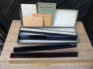 Antique boxed Mah-Jong Tile rack set of 4 . Dutch Instructions / score cards etc