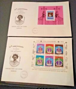 Barbuda 1978 25th Anniversary of the Coronation 2 Mini Sheet First Day Covers