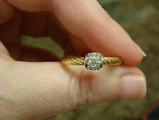 David Yurman Solid 18K Gold & Diamond Pave Ball Cable Stack Ring size 7.5