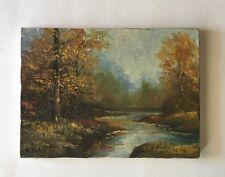 Antique/Vtg K. YOSHII Signed Oil Canvas PAINTING  Impasto Autumn LANDSCAPE