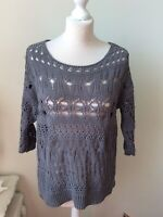 NEXT Grey Open Knit High Low Jumper Scoop Neck 3/4 Sleeve Size Medium (12/14)