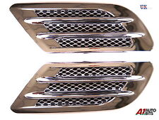 CHROME CAR BONNET AIR INTAKE FLOW SIDE FENDER VENT HOOD SCOOP SILVER