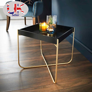 Melrose Stylish Tray Table Black with Removable Top & Metal Legs Gold Finish