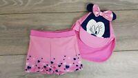 Official DISNEY Minnie 2 Piece Swim Set Baby Top Shorts Hat Age 18-24 Mths A4433