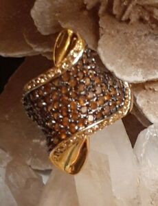 Vintage HSN Chocolate & Citrine Gold Over Sterling Silver (VERMEIL) Ring Size 8