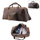 Large Genuine Leather Luggage Travel Bag Messenger Shoulder Day Pack Camp Hiking