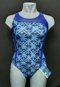 ACCLAIM Verona Ladies Swimming Costume UK 12 Blue Print Nylon Lycra ExDisplay