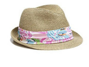 LILLY PULITZER for TARGET Girls Hat Gold Tan Fedora Pink Nosey Posey Print