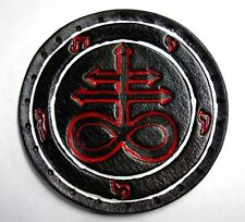 LEVIATHAN CROSS white and red lines  GENUINE LEATHER  PATCH black metal