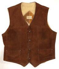 Vintage 70s Pioneer Wear Rancher Vest Suede New Mexico Size 36 #8