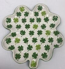 New listing Lucky Clover Shamrock 4 Leaf Ceramic Plate St. Patrick's Day Irish