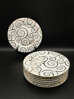 SET OF 4 (2 SETS AVAIL) PIER 1 GOLD SWIRL SALAD DESSERT PLATES WHITE GOLD