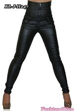 Sexy Women's High Waist Faux Leather Trousers Ladies Skinny Size 6,8,10,12,14 UK