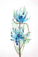 Blue Crystal Glass Flowers In Vase Always Fresh Look Handmade Bouquet For Her