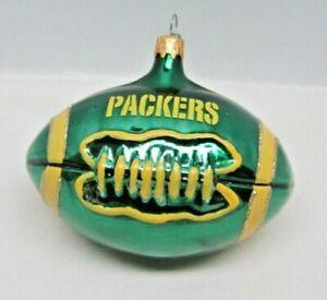 Vintage NFL Green Bay Packers Mercury Glass Football Christmas Tree Ornament