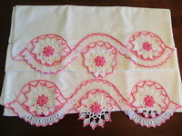 Pillowcases with White Hand Crochet & Pink Circles on the Edging, Vintage Pretty