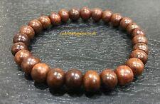 Rare Red Sandalwood Beads Hindu Japa Yoga elastic Bracelet Wrist band Rosary Aum