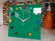 Handmade MOnkiStuff Designed Wall Clock Gloss GREEN, made using LEGO® Bricks