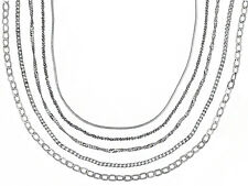 Curb Snake Sparkle Singapore Anchor Flat Rhodium Plated Sterling Chain Set of 5