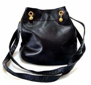 Bottega Veneta Black Leather Shoulder Bag Purse Authentic Vintage