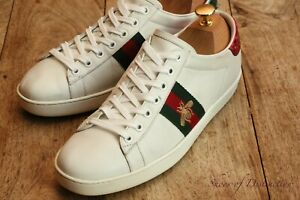 Ladies Gucci Genuine Ace White Leather Shoes Trainers Sneakers UK 6 US 8 EU 39