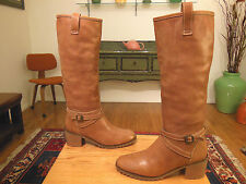 Vtg MICHAEL KORS Women's Caramel Leather Cross Strapped Fashion Boots 9M ITALY