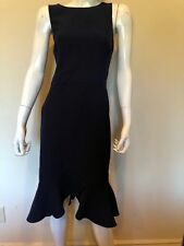 New Maggy London Ruffled Hem Sleeveless Navy Blue Sz 12 Dress $189