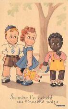 1930s Black Boy White Children Girl Doll Toy Postcard 9058x
