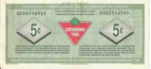 1992 Canadian Tire 5 cents low serial number # 0000516905 Rare Hugh Macaulay sgn