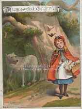 Big Bad Wolf-Danger-Little Red Riding Hood-1888 ANTIQUE VINTAGE COLOR ART PRINT