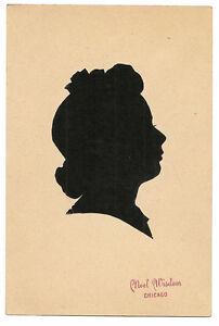 Folk art paper cut sillouette of young lady, Noel Wisdom, Kresge, Chicago
