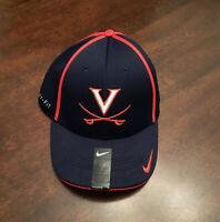 NWT University of Virginia UVA Cavaliers Nike Blue Orange Medium Large Logo Hat