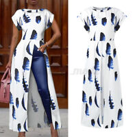 US Womens Short Sleeve Asymmetric Shirt Long Maxi Tops Tunic Casual Blouse Tee