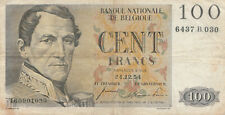 BILLET BANQUE NATIONALE DE BELGIQUE 100 FRANCS 24/12/1954