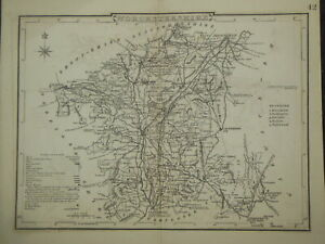 Original Antiquarian County Map of Worcestershire c1850 - Dugdale, England