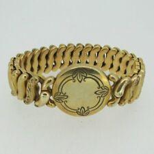 Vintage Gold Tone Engravable Round Sweetheart Expandable Bracelet