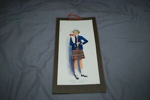 CHARMING 1930S WATERCOLOUR SCHO0L CHILDREN WEARING CLOTHING FROM THE TIME