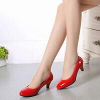 Women Work Smart Wedding Court Shoes Pumps Ladies Low Stiletto Mid High Heel DD