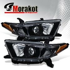 For 11-13 Toyota Highlander Projector Replacement Black Headlight Amber Corner