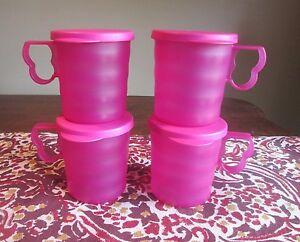 Tupperware LOT 4  NEW Impressions 12 oz MUGS Fuchsia KISS PINK w/ drip less LIDS