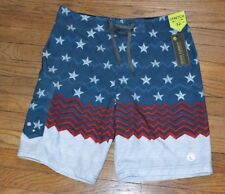 Ocean Current USA Bathing Suit Swim Trunks Size 28 Board Shorts Red White Blue