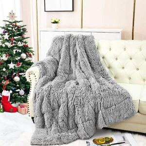 "Faux Fur Blanket 20Lbs Sherpa Weighted Reverse Long Fur Heavy Throw, 60""x80"""
