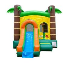 Tropical Moonwalk Slide Commercial Inflatable Bounce House Combo With Blower