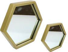 Modern 20cm or 40cm Gold Metal Hexagonal Framed Wall Hanging Decor Glass Mirror