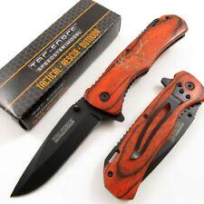 Spring-Assisted Folding Pocket Knife   Tac-Force Brown Elk Wood Black Blade