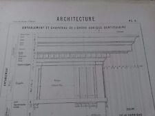 N54 Ancienne Planche LITHOGRAPHIE Architecture XIXè Imprimeur Deloume Marseille