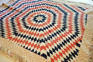 Antique Vintage Reversable Childrens Patchwork Star Quilt Crib Blanket Quilted